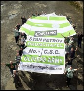 OLIVERS BAR DRUMCHAPEL CELTIC SUPPORTERS NEW STAN PETROV BANNER.