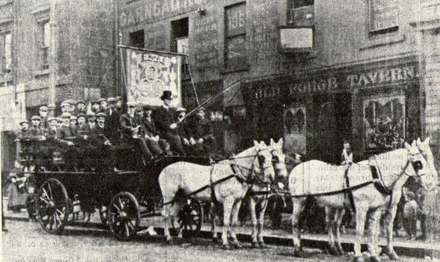 Brake Club from the Garngad - cracking shamrock banner outside the old Forge Tavern