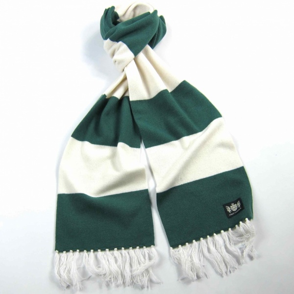 #CelticScarves - Green and White Cashmere, from Saville Rogue