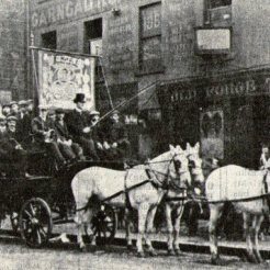 Garngad Brake Club maybe St Mungo outside old Forge Tavern
