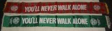 YNWA Silk scarves inc tartan from the Huddleboard