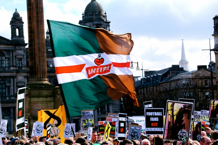 Celtic - St Pauli Antifa (anti-fascist) banner