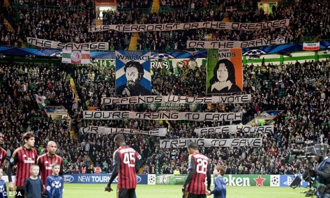 Bobby Sands and William Wallace protest banners (Green Brigade)