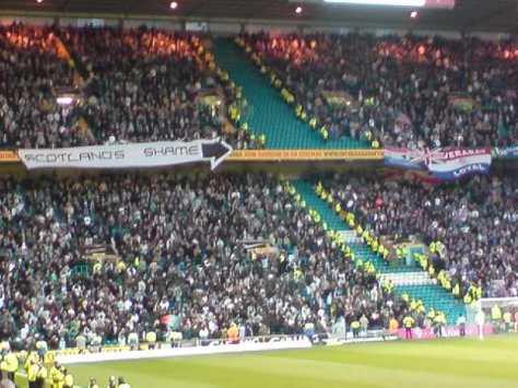 Scotland's Shame banner (Green Brigade)
