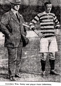 Peter Johnstone and Willie Maley with flag