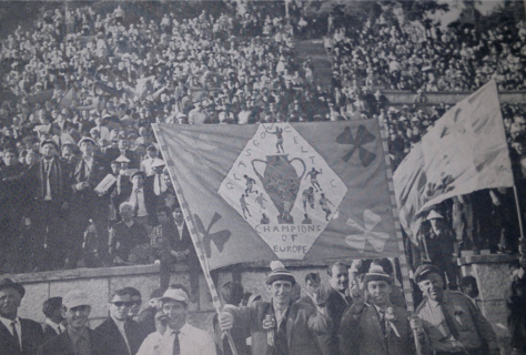 Celtic Banners:  Champions of Europe banner (on the pitch at Lisbon, 1967)