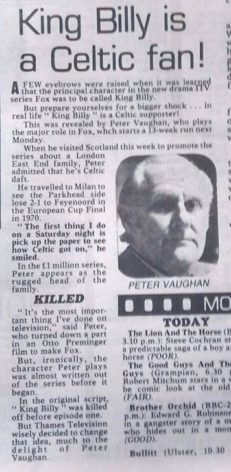 Peter Vaughan Celitc fan Daily Record Fox TV show 1980