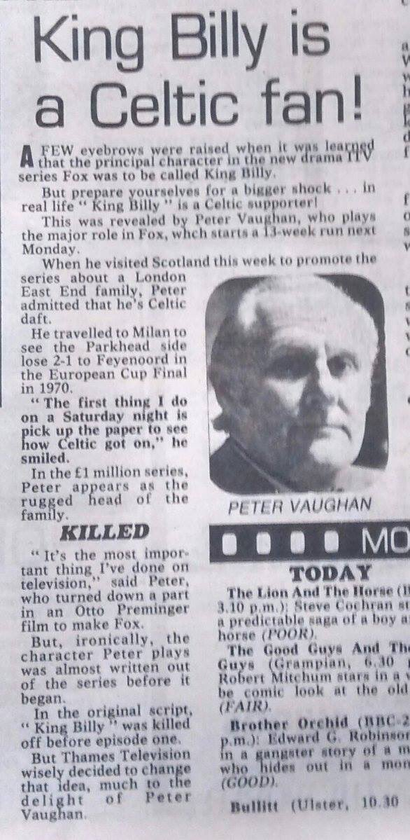 Peter Vaughan Celitc fan Daily Record Fox TV show 1980