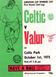 Celtic v Valur programme 1975