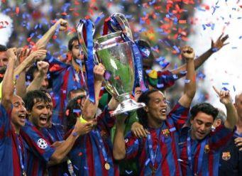 Henrik Larsson celebrates winning European Cup w Barcelona