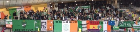 Celtic support in Maribor 2014 banners