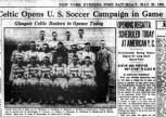 1931 Tour NY paper Glasgow Celtic booters!