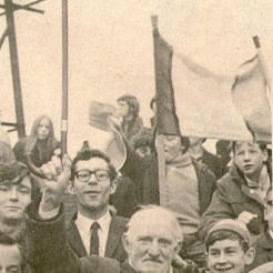 1960s old fan with cane and bunnet, tricolour