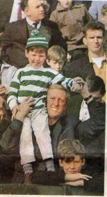 1960s Young Celtic fan in hoops in crowd, colour