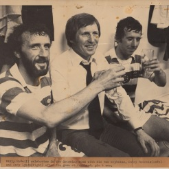 4-2 game Post match celebration Billy McNeill Danny McGrain and Andy Lynch