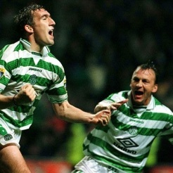 Alan Stubbs and Andy Thom celebrate