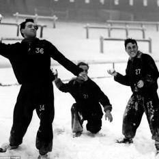 Bobby Collins and Willie Fernie snowballs at Celtic Park