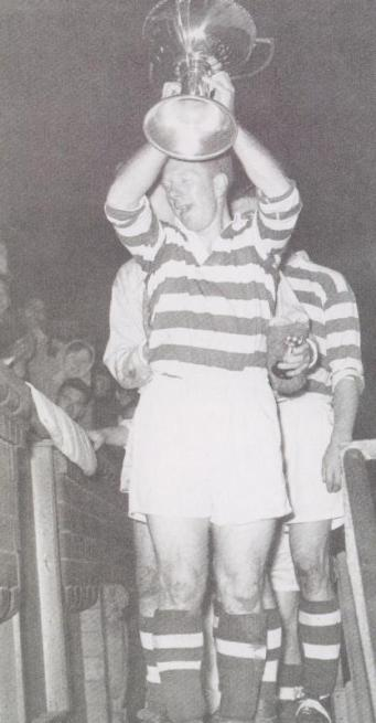 Bobby Evans with league cup