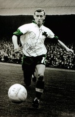 Bobby Lennox with Shamrock jersey signed