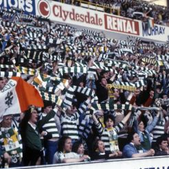 Celtic fans Ibrox early 80s full voice