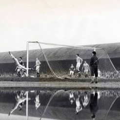 Celtic v Third Lanark 1962 with puddle