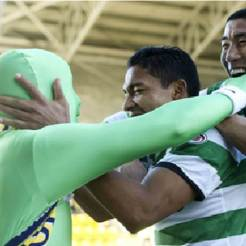 Emilio celebrates first goal with the green gimp