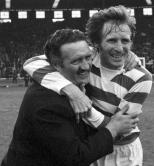 Jock and Billy celebrate on pitch