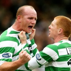 John Hartson and Neil Lennon celebrate