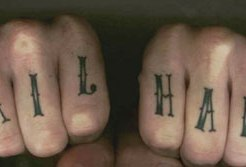 Knuckles tatoo Hail Hail