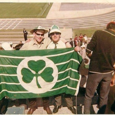 Lisbon 2 supporters with shamrock flag, colour
