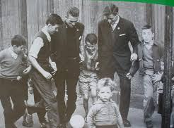 Pat Crerand and Charlie Gallagher playing in street in Gorbals