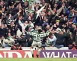 Paul McStay celebrates at Ibrox 1990s