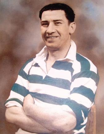 Sean Fallon as Celtic captain 1952