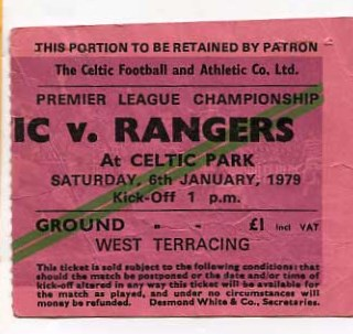 West Terracing ticket £1