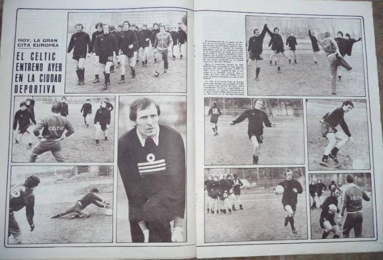 Celtic players training in Spain before Real Madrid game 1980  Paper Dario Grafico Deportivo