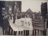 7-1 flag supporters in Saracen Street, Possil