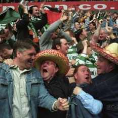 Beachball Sunday great close up pic of fans celebrating a goal