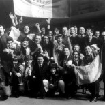 Celtic fans arrive in leeds 1970 with banners