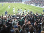 Celtic fans celebrate with players at ICT approx 2008 or 9