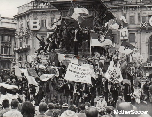 Celtic fans in Milan 1970 with Rotterdam fans