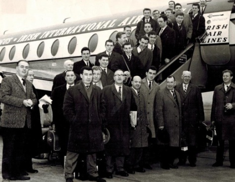 Celtic team plane to Budapest 1964