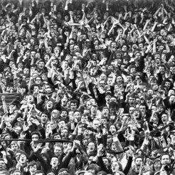 Fans celebrate v Huns 1960s