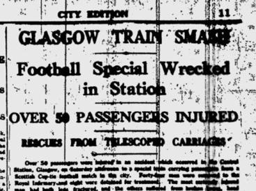 Train crash headline  football special