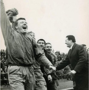 John Fallon and bench celebrate v Dukla