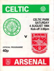 Celtic Arsenal match prog 1984