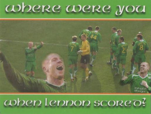 Neil Lennon postcard  goal v Dunfermline 2006