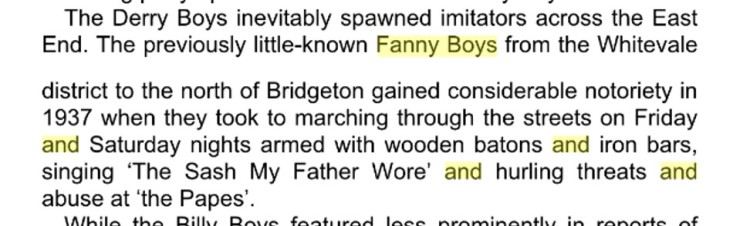 The Fanny Boys  extract from A Davies book
