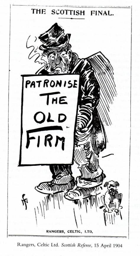 Patronise THE OLD FIRM Cartoon Scottish Referee 1904