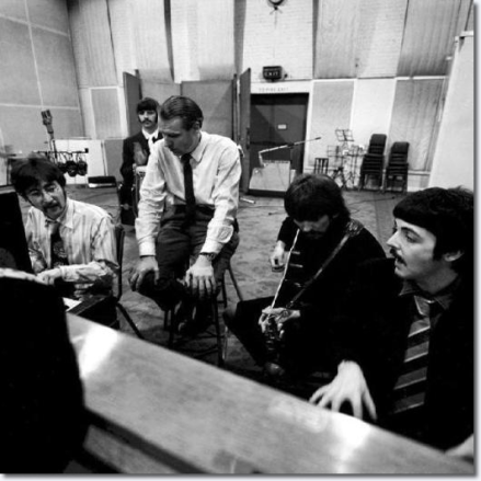 Beatles and George Martin in studio