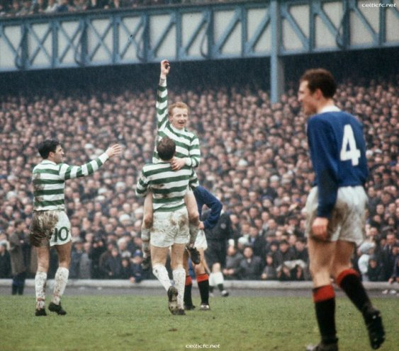 Jinky celebrates at Ibrox 1967 title win